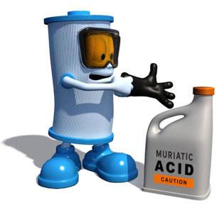 Nettoyage d'une cartouche de filtration avec un produit acide