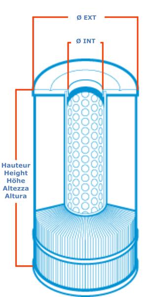 Mesures de la cartouche de remplacement pour piscine et spa